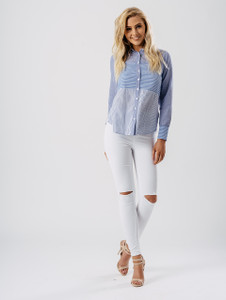 Blue Contrast Stripe Shirt