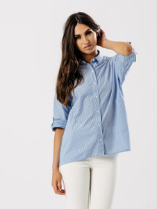 Blue Pinstripe 3/4 Sleeve Shirt