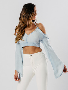 Light Wash Chambray Cold Shoulder Cross Strap Top
