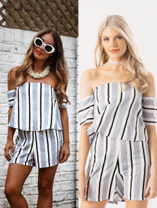 Blue Stripe Layered Bardot Playsuit