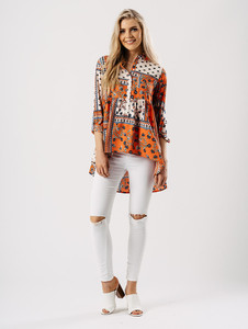 Orange Printed Dip Hem Shirt