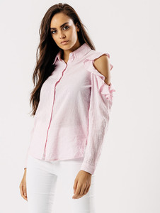 Pink Stripe Cold Shoulder Frill Shirt