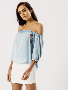 Light Wash Embroidered Bardot Top