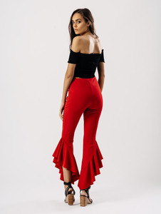 Red Extreme Ruffle Hem Trousers