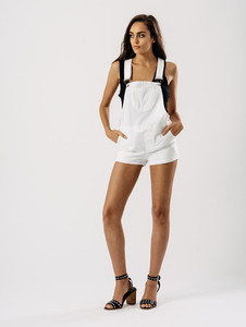 White Short Dungaree With Front Patch Pocket