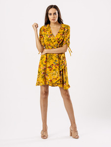 Mustard Floral Wrap Frill Dress