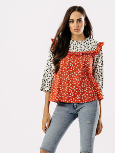 Red Ditsy Print Frill Top
