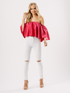 Hot Pink Satin Bardot Top