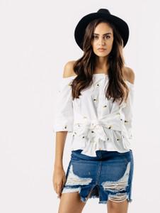 Pineapple Print Tie Front Bardot Button Up Shirt