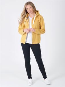 Jersey Zip Hoodie in Mustard