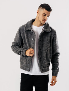 Grey Button Through Sherpa Jacket