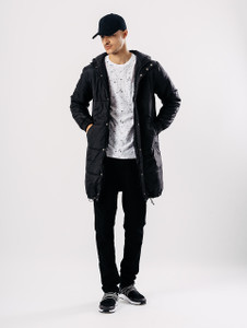 Black Long Quilted Puffa Jacket With Hood