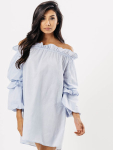 Blue Stripe Ruffle Bardot Dress
