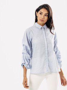 Blue Stripe Extreme Ruffle Sleeve Shirt