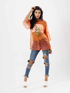 Orange Sheer Embroidered Oversized Top
