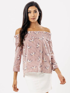 Red Stripe Bird Print Bardot Top