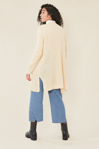 Cream Oversized Chunky Knitted Cardigan