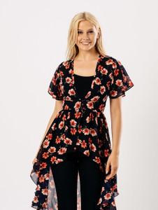 Navy Floral Sheer Button Up Cover Up