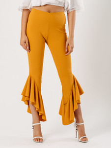 Mustard Extreme Ruffle Hem Trousers