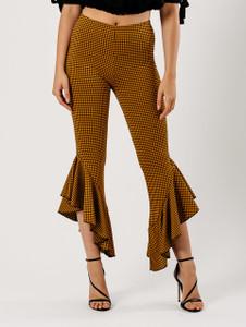 Mustard Gingham Check Extreme Ruffle Hem Trousers