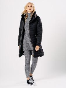 Black Longline Puffer Jacket with Foldaway Hood