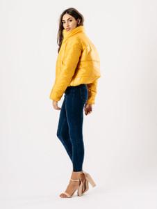 Mustard Cropped Shine Padded Puffer Jacket