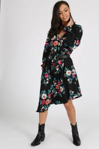 Black Floral  Asymmetric Wrap Dress