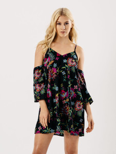 Black Floral Cold Shoulder Tier Sleeve Slip Dress