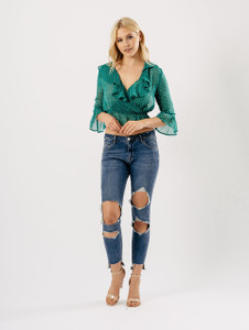 Green Ruffle Polka Dot Wrap Crop Blouse