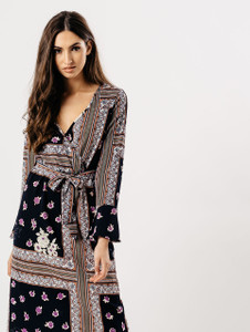 Mosaic Print Maxi Wrap Dress