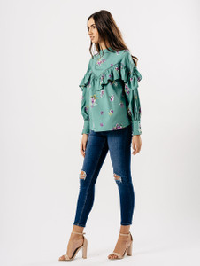 Mint Floral Ruffle Front Top