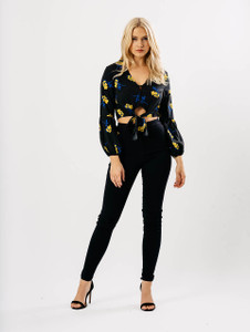 Black Floral Crop Button Up Balloon Sleeve Top