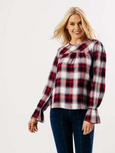 Red Check Bell Sleeve Top