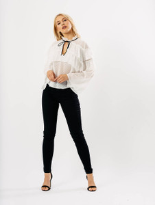 White Dobby Extreme Frill Blouse With Neck Tie
