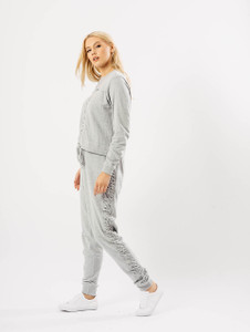Grey Rouched Front Tie Hem Sweater