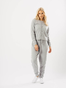 Grey Rouched Seam Drawstring Joggers