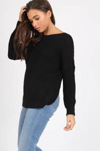 Black Knotted Back Drop Shoulder Knitted Jumper