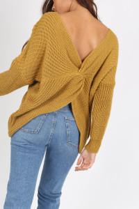 Mustard Knotted Back Drop Shoulder Knitted Jumper