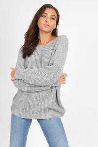 Grey Knotted Back Drop Shoulder Knitted Jumper