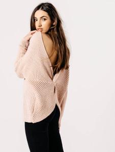 Pink Knotted Back Drop Shoulder Knitted Jumper