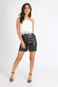 Black Zip Through PU Mini Skirt