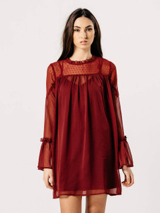 Burgundy Flare Sleeve Dobby Print Shift Dress