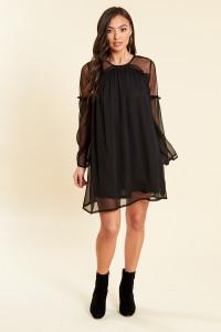 Black Chiffon and Mesh Insert Swing Dress