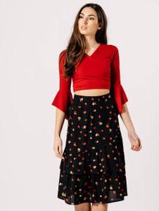 Black Floral Asymmetric Ra Ra Skirt