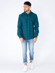 Navy Green Cotton Check Shirt
