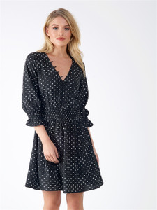 Black Polka Dot Button Detail V Neck Dress