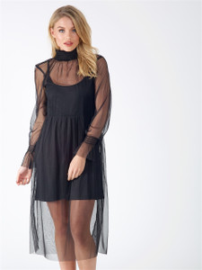 Black Sheer High Neck Dress