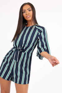 Navy Self Tie Waist Stripe Playsuit