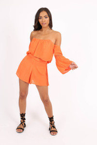 Orange Side Crochet Shorts