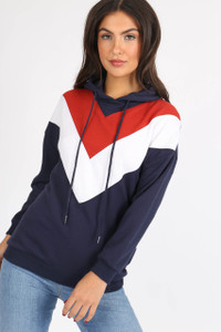 Navy Chevron Colour Block Hooded Sweat
